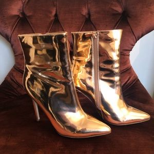 Rose Gold Pointy Heel Ankle Boots.